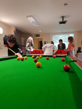 """Kindly donated by Neil Lodon of Easton House. The pool table dates from the 70s and """"runs"""" on 3 old style 10ps (which the young people are very careful not to lose!)"""