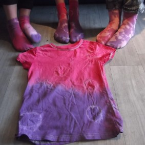 The week after our tie dyeing session, here are some of the results!