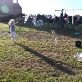 See our page on giant bubbles (in Fun Stuff) for instructions on how we did this!