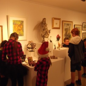 Some of the young people looking round the gallery when it was opened especially for us.