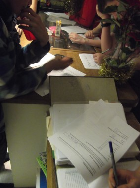 Young people at the Tuesday session on 6th December, taking part in the Parish Council housing survey